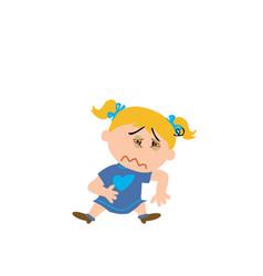 Cartoon character of a sick girl vector