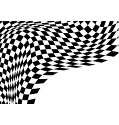 checkered wave flying black white vector image