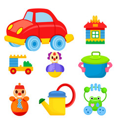Childrens colorful toys isolated set vector