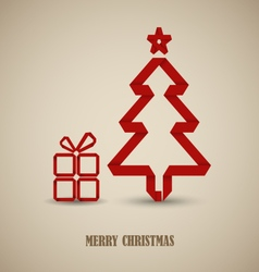 Christmas card with folded red paper tree template vector