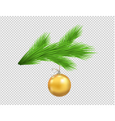 Christmas tree branch with glassy yellow ball vector