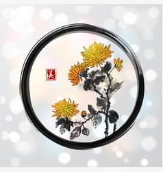 Chrysanthemum flowers in black enso zen circle on vector