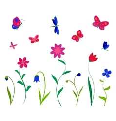 Colorful flowers butterflies and dragonflies vector