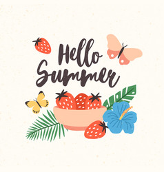 Composition with hello summer lettering written vector