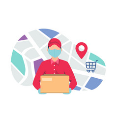 Courier delivering package using mask vector