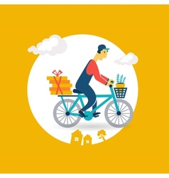 Courier rides a bicycle icon vector