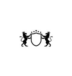 creative heraldic shield lions logo vector image