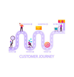 Customer journey road buyer characters shopping vector