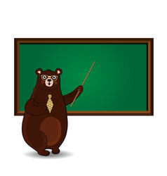 Cute cartoon bear teacher in glasses and tie vector
