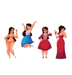 Cute curvy overweight girl in bikini casual vector