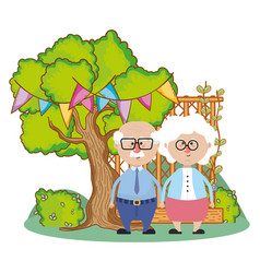 Cute grandparents couple cartoon vector
