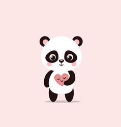 cute little panda holds a valentine in his hands vector image