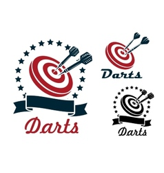 Darts sporting symbols and emblems vector image