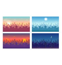 daytime cityscape set isolated on white background vector image
