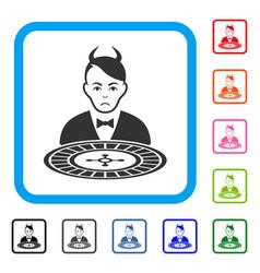 Devil roulette dealer framed pitiful icon vector