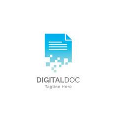 digital document logo design t vector image