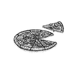 dotwork pizza food vector image