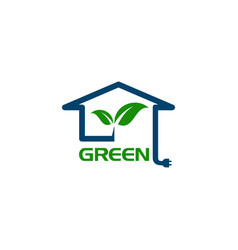 eco house with leaf and power plug concept logo vector image