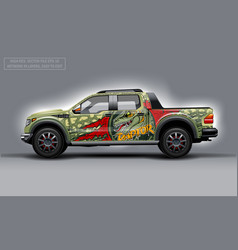 Editable template for wrap suv with raptor profile vector
