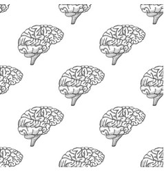Engraving brain hand drawn pattern vector