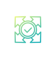 Expand icon with check mark line design vector