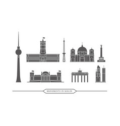 Famous monuments and buildings in berlin - icon vector