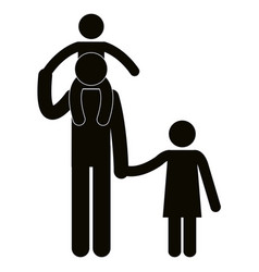 Figure father with son and daughter avatars vector