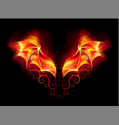 fire dragon wings vector image