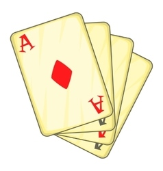 Four aces playing cards icon cartoon style vector image