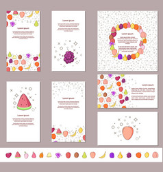 fruit and berry banners set with pattern vector image