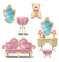 Furniture for interior girl room in pink color vector