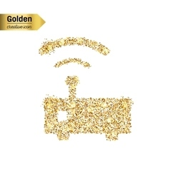 Gold glitter icon of wifi router isolated vector