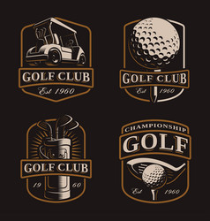 golf set on dark background vector image
