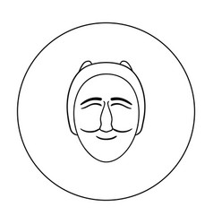 hahoe mask icon in outline style isolated on white vector image