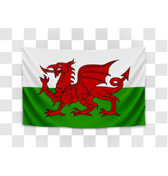 hanging flag wales wales national flag vector image