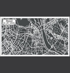 Hanoi vietnam city map in retro style outline map vector