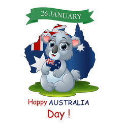 Happy australia day poster with a funny koala on m vector