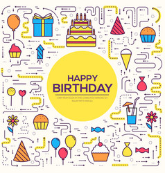 happy birthday set infographics template concept vector image