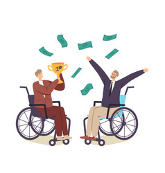 happy businessmen characters on wheelchair vector image