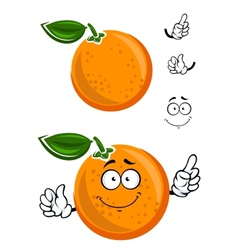 Happy juicy cartoon orange with green leaf vector