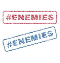 Hashtag enemies textile stamps vector