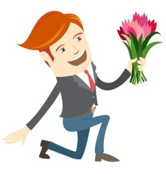 Hipster funny man kneeling holding flowers Flat vector image