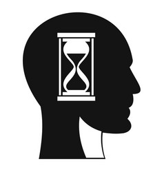 Hourglass in head icon simple style vector