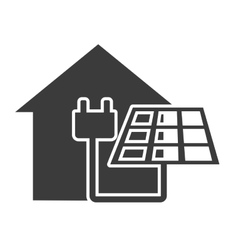 house silhouette with ecology icon vector image