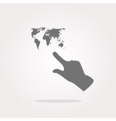 icon with people hand and world map sign Arrows vector image