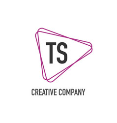 initial letter ts triangle design logo concept vector image
