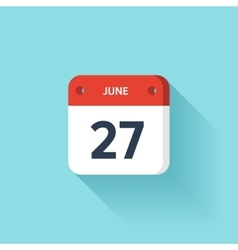 June 27 Isometric Calendar Icon With Shadow vector