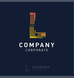 l company logo design with visiting card vector image