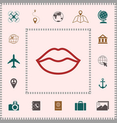 Lips linel icon elements for your design vector