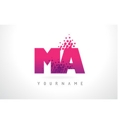 ma m a letter logo with pink purple color and vector image